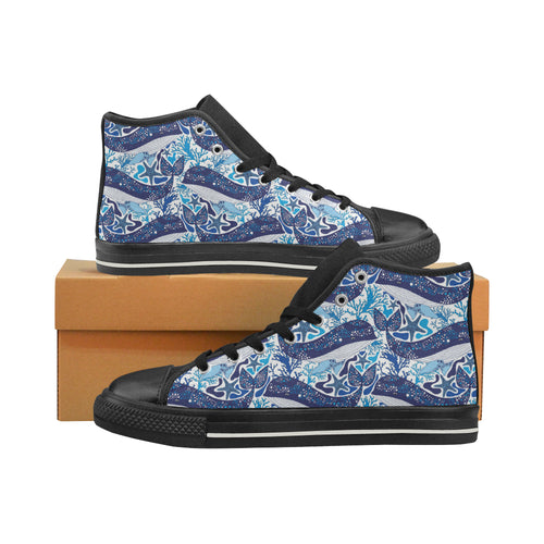 Whale Starfish Pattern Women's High Top Shoes Black Made In USA