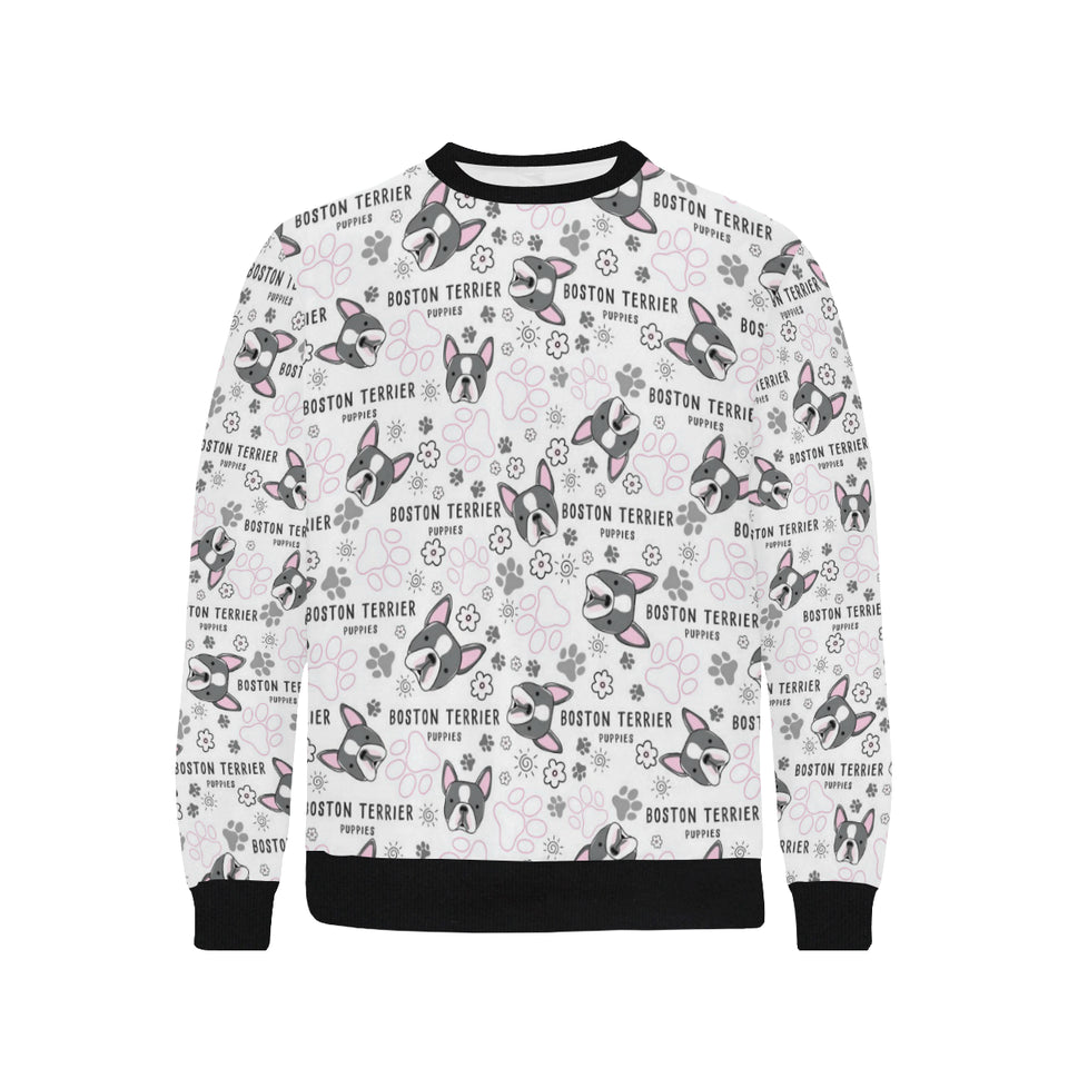 Boston Terrier Pattern Men's Crew Neck Sweatshirt