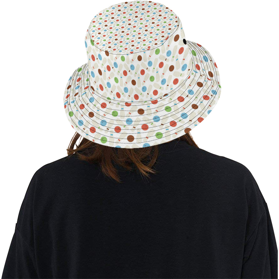 Bowling Ball and Pin Pattern Unisex Bucket Hat