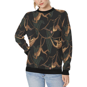 Monkey Pattern Black Background Women's Crew Neck Sweatshirt