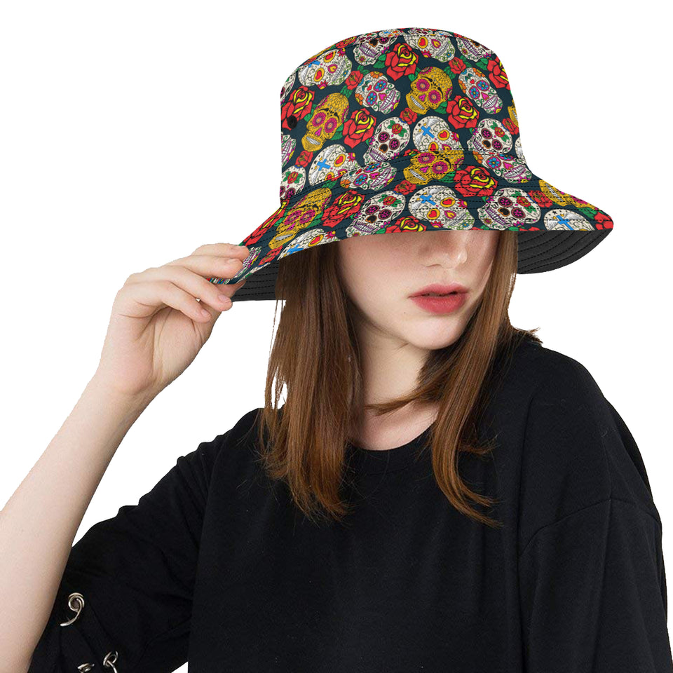 Suger Skull Pattern Background Unisex Bucket Hat