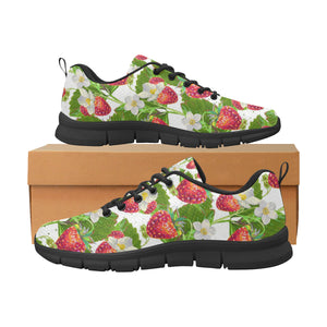 Strawberry Pattern Women's Sneakers Black