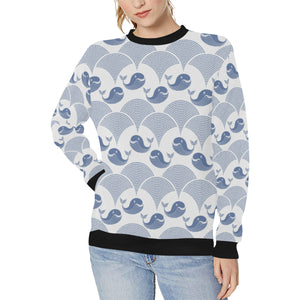 Whale Pattern Women's Crew Neck Sweatshirt