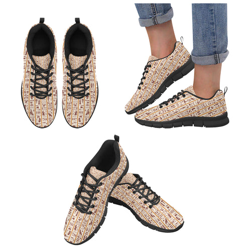 Egypt Hieroglyphics Pattern Print Design 05 Women's Sneakers Black