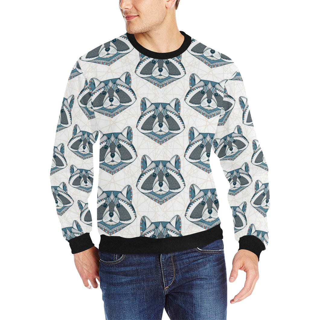 Raccoon Head Pattern Men's Crew Neck Sweatshirt