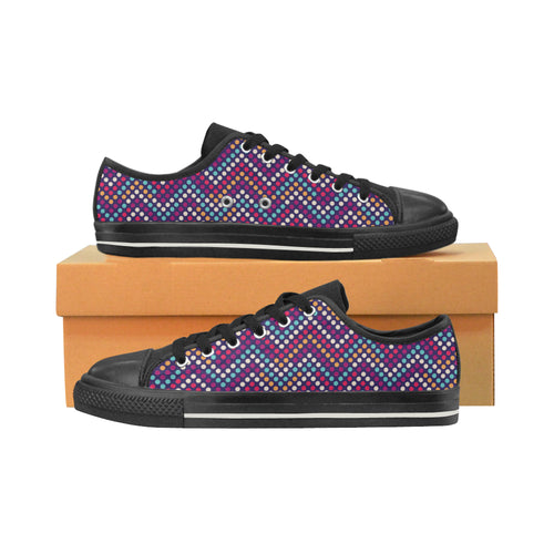 Zigzag Chevron Pokka Dot Aboriginal Pattern Men's Low Top Canvas Shoes Black