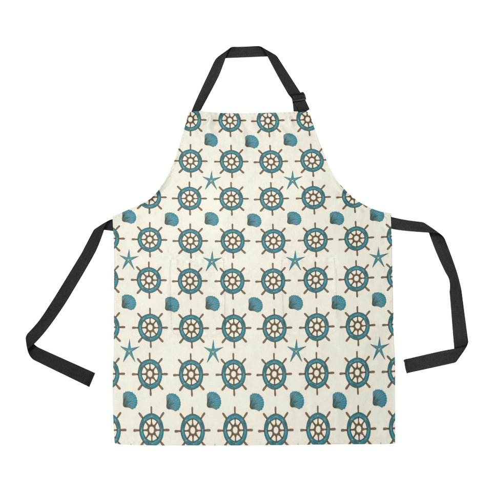 Nautical Steering Wheel Rudder Shell Pattern Adjustable Apron