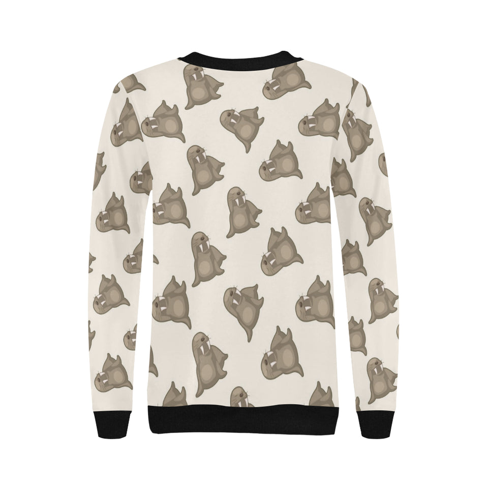 Sea Lion Pattern Women's Crew Neck Sweatshirt