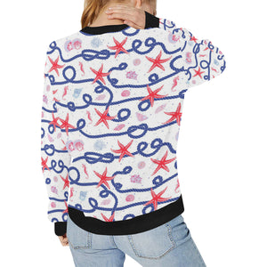 Starfish Shell Rope Pattern Women's Crew Neck Sweatshirt