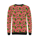 Grapefruit Leaves Pattern Women's Crew Neck Sweatshirt
