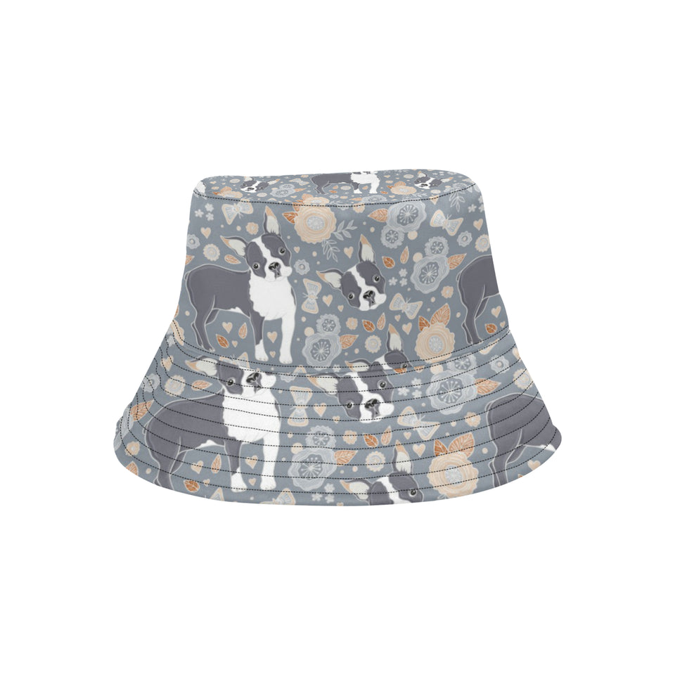 Boston Terrier Flower Pattern Gray Background Unisex Bucket Hat
