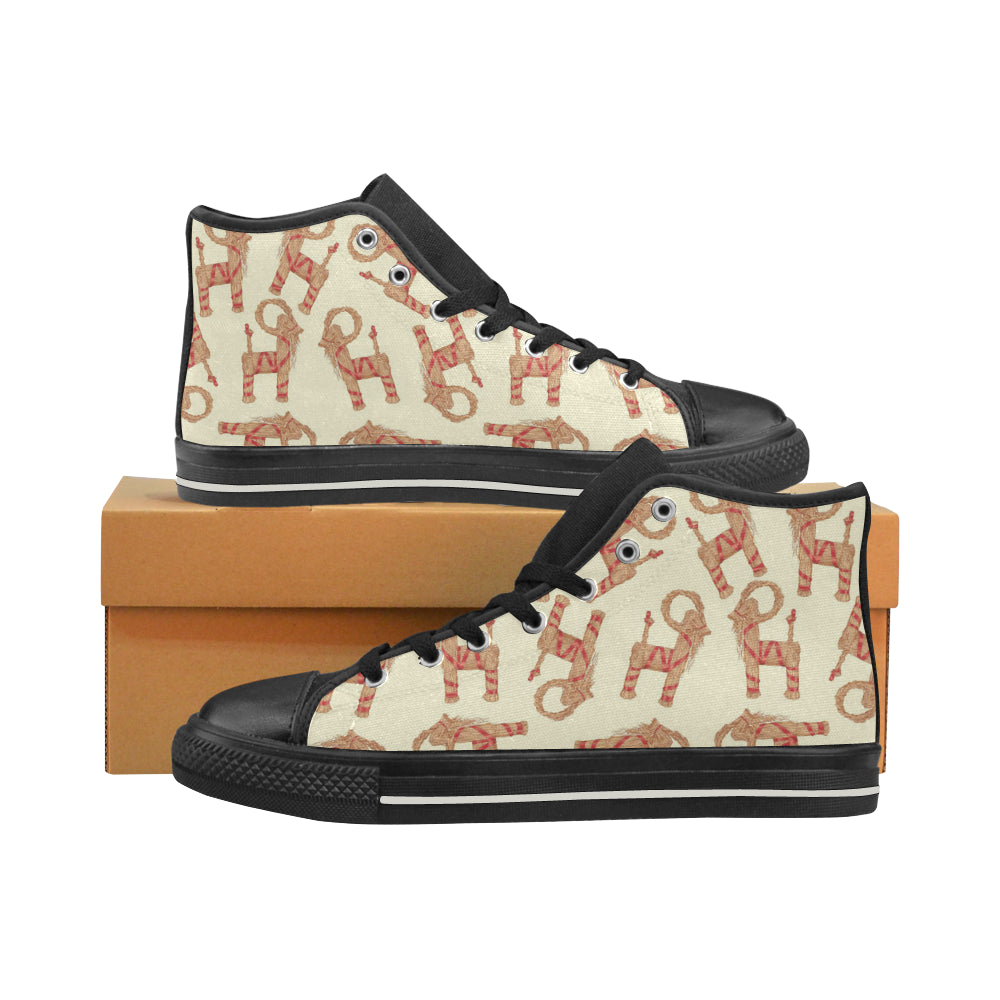 Yule Goat or Christmas goat Pattern Women's High Top Shoes Black