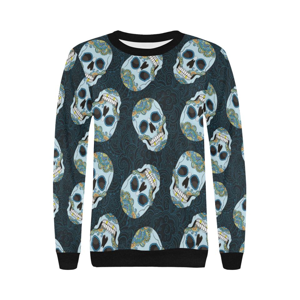 Suger Skull Pattern Women's Crew Neck Sweatshirt