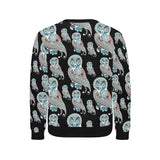 Owl Tribal Pattern Men's Crew Neck Sweatshirt