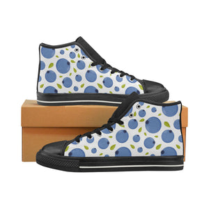 Blueberry Pattern Men's High Top Shoes Black (Made In USA)