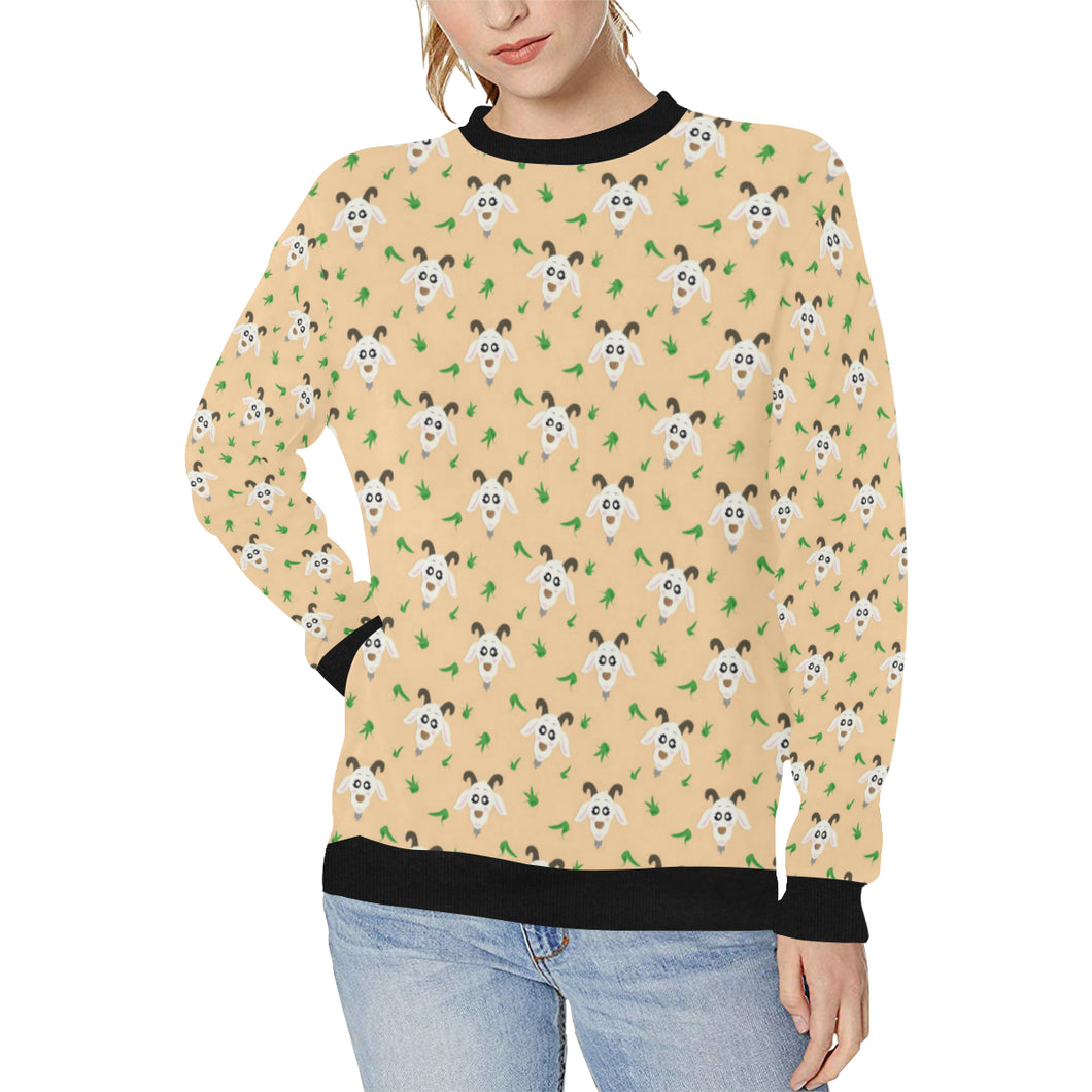 Goat Glass Pattern Women's Crew Neck Sweatshirt