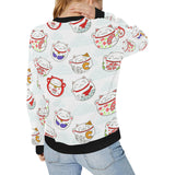Meneki Neko Lucky Cat Pattern Women's Crew Neck Sweatshirt