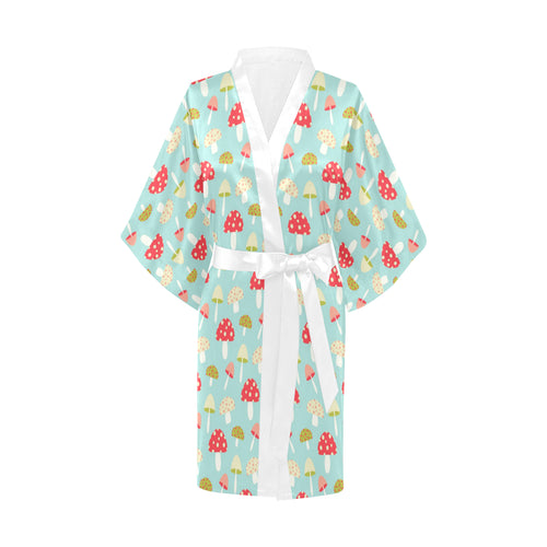 Mushroom Pattern Background Women's Short Kimono Robe