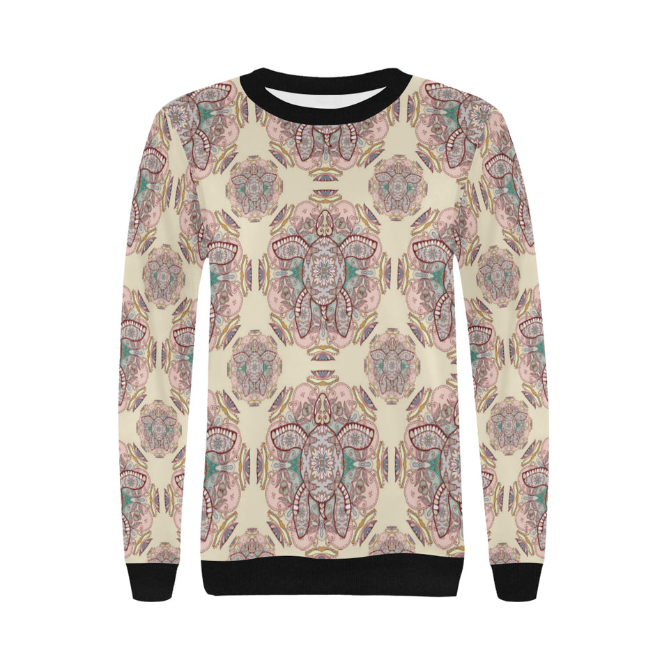 Sea Turtle Tribal Pattern Women's Crew Neck Sweatshirt
