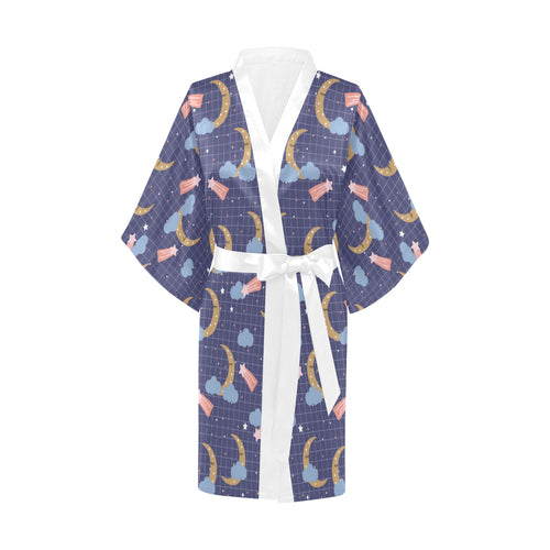 Moon Star Could Pattern Women's Short Kimono Robe