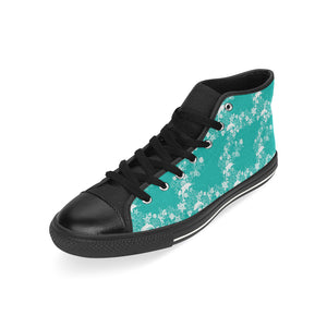 Dolphin Sea Shell Starfish Pattern Men's High Top Shoes Black (FulFilled In US)