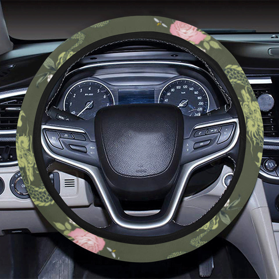 Green Dragon Rose Flower Pattern Car Steering Wheel Cover