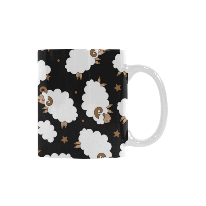 Cute Sheep Pattern Classical White Mug (FulFilled In US)