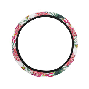 Pink Parrot Heliconia Pattern Car Steering Wheel Cover