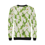White Tulip Pattern Women's Crew Neck Sweatshirt