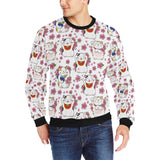 Meneki Neko Lucky Cat Sakura Flower Pattern Men's Crew Neck Sweatshirt