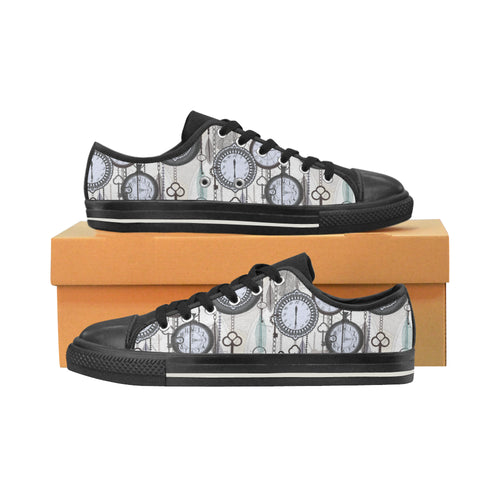 Vintage Clock Pattern Men's Low Top Canvas Shoes Black