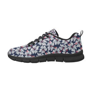 Hibiscus Pattern Print Design 02 Men's Sneakers Black