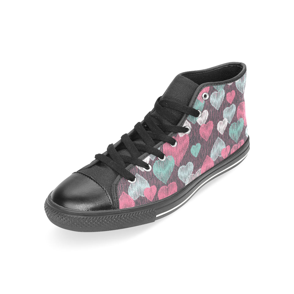Decorative Heart Pattern Women's High Top Shoes Black