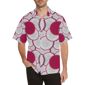 Sliced Dragon Fruit Pattern Men's All Over Print Hawaiian Shirt