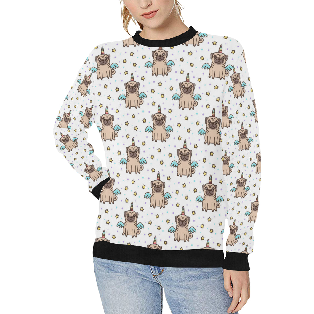 Unicorn Pug Pattern Women's Crew Neck Sweatshirt