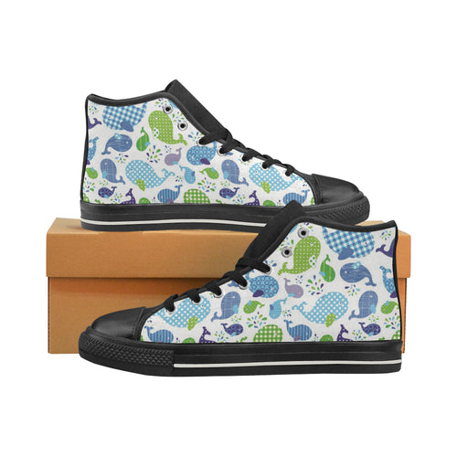 Whale Stripe Dot Pattern Women's High Top Shoes Black Made In USA