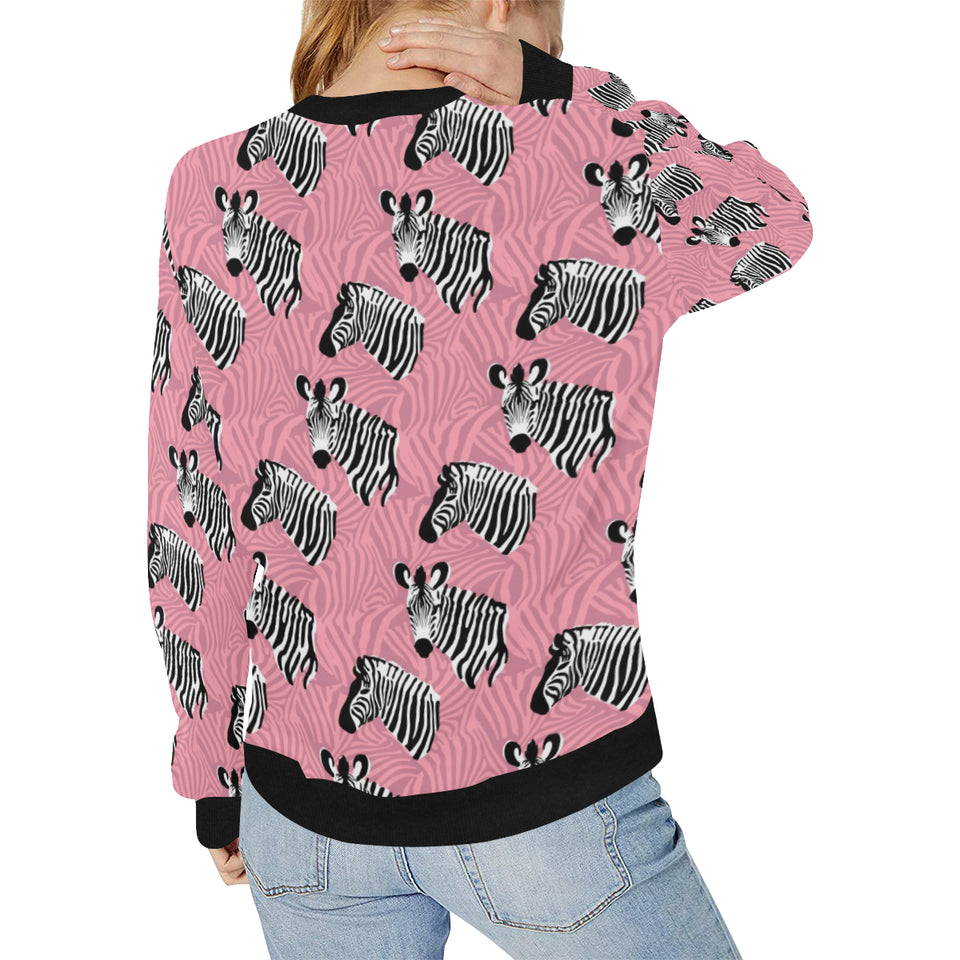 Zebra Head Pattern Women's Crew Neck Sweatshirt