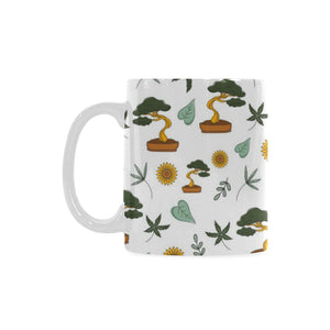Bonsai Leaves Flower Pattern Classical White Mug (FulFilled In US)