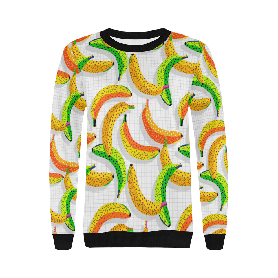 Banana Geometric Pattern Women's Crew Neck Sweatshirt