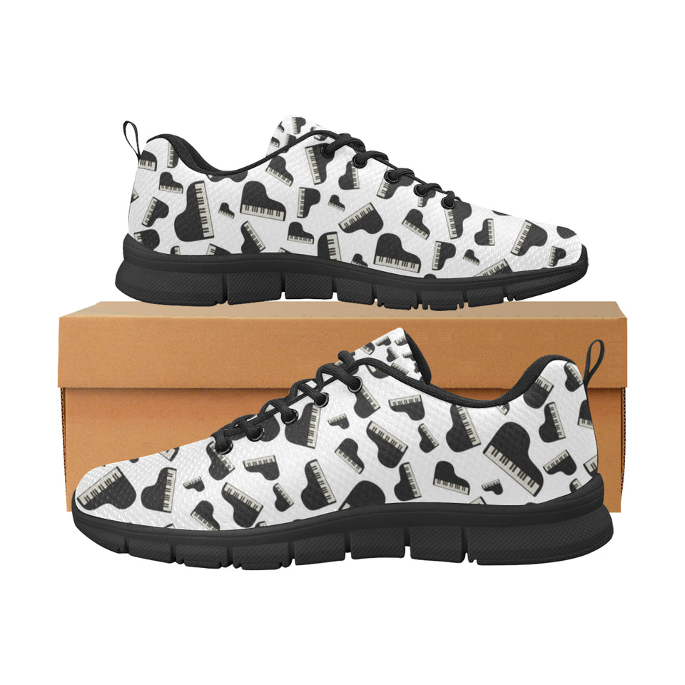 Piano Pattern Print Design 02 Women's Sneakers Black