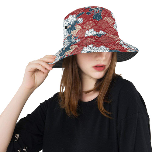Red Theme Japanese Pattern Unisex Bucket Hat