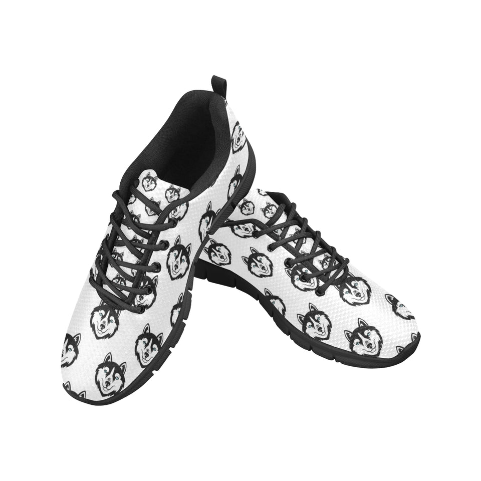 Siberian Husky Pattern Women's Sneakers Black