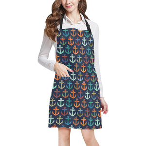 Colorful Anchor Dot Stripe Pattern Adjustable Apron