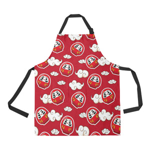 Red Daruma Cloud Pattern Apron