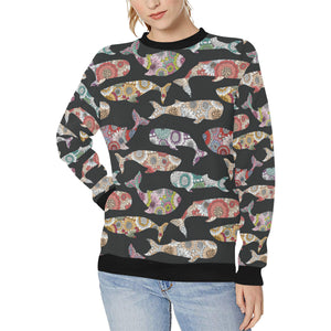 Whale Flower Tribal Pattern Women's Crew Neck Sweatshirt