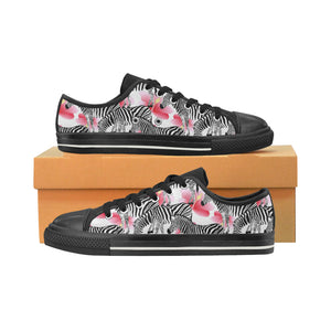 Zebra Red Hibiscus Pattern Men's Low Top Canvas Shoes Black