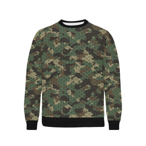 Green Camo Camouflage Honeycomb Pattern Men's Crew Neck Sweatshirt