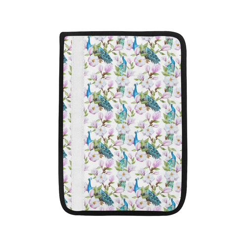 Peacock Pink Flower Pattern Car Seat Belt Cover