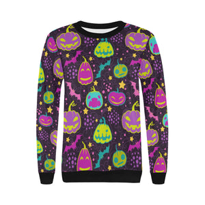 Halloween Pumpkin Bat Pattern Women's Crew Neck Sweatshirt