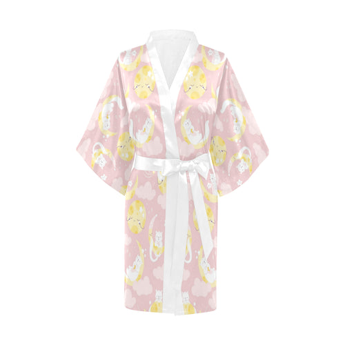 Moon Sleeping Cat Pattern Women's Short Kimono Robe